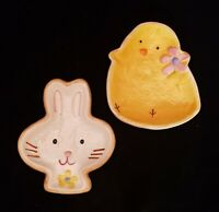 (2) Easter Snack Plates Baby Chick & Bunny Cracker Barrel Easter Eggs Collection
