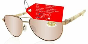 Costa Del Mar Fernandina rose gold copper silver mirror 580 plastic lens NEW