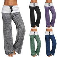 Womens Flare Wide Leg Foldover Yoga Pants Comfy Stretch Soft Gym Sport Leggings