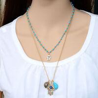 Hamsa Hand of Fatima Blue Evil Eye Kabbalah Gold Charm Pendant Chain Necklace