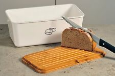 Brotbox aus Melamin weiß mit Bambus Schneidebrett, Brotkasten, Kesper, Neu