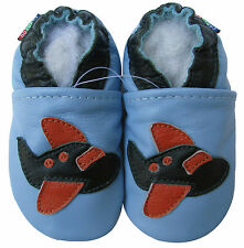 carozoo airplane light blue 6-12m soft sole leather baby shoes