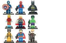 9pc MARVEL DC SUPER HEROES FITS LEGO MINIFIGS SUPERMAN SPIDERMAN WOLVERINE LOGAN