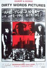 Gilbert y George, sucios palabras cartel, 69x99cm, cartel exposición firmados