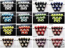 20pcs Big Hole Porcelain Ceramic Rondelle Spacer Beads Fit European Charm