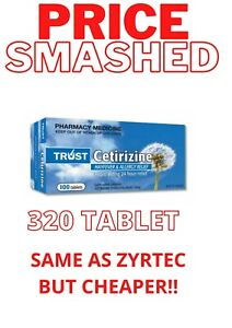 320 TABLETS - SAME AS ZYRTEC - CETIRIZINE 10MG ( WHY PAY FOR BRAND NAME? )