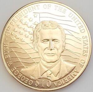 2001 Republic of Liberia $10 copper nickel coin! George W. Bush!