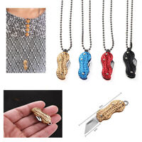Outdoor EDC Pocket Knife Stainless Steel Necklace Knife Mini Peanut Shape Knives