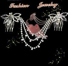 Luxus Edler Doppel Haarkamm Kettchen Schmetterling Strass Hochzeit Braut