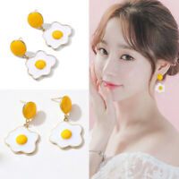 Cute Creative Fashion Women Girls Cartoon Fried Egg Sweet Drop Dangle Earrings