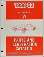 1992 Cutlass Supreme Parts Book Original Oldsmobile Master Parts Catalog