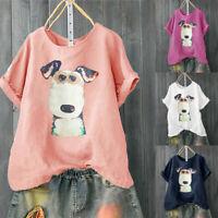 Women Casual Plus Size Dog Print Loose Linen Button Tunic Shirt Blouse Tops
