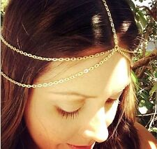 Fashion Women Gold Metal Alloy Head Chain Jewelry Headband Head Piece Hair band