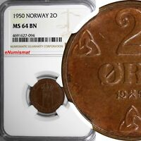 Norway Haakon VII Bronze 1950 2 Ore NGC MS64 BN TOP GRADED BY NGC  KM# 371