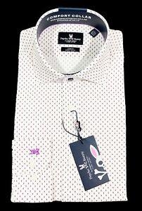 Men's PSYCHO BUNNY White Purple Circles / Dots Dress Shirt 15 1/2 32/33 NWT NEW