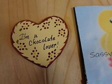 """Heart Ornament I'M A CHOCOLATE LOVER 3"""" Brown Hand Painted Wood Christmas"""