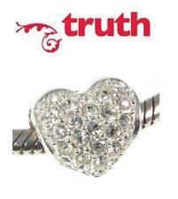 Genuine TRUTH PK 925 sterling silver & Swarovski HEART  charm bead, love