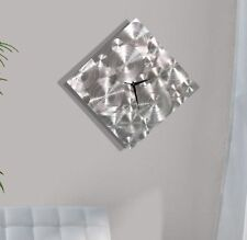 Abstract Art Silver Metal Wall Clock Functional Art Home Decor - Spontaneity