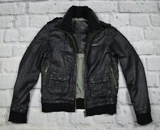 Mens Superdry BOMBER Black leather jacket  Beckham size M