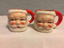 2 Vintage Ceramic Mini Santa Claus Japan Novelty Christmas Shot Glass Mugs