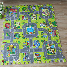 9Pcs/Pack Baby Crawling Mat City Road Developing Playing Floor Pad EVA Carpet