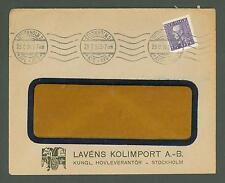 J Cover W58 Sweden 1924 Lavens Coal Import Company Stockholm Machine Cancel