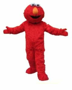 Red Sesame Street Elmo Monster Mascot Costume Suit Party Fancy Dress Adult
