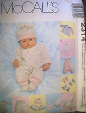 Infant Preemie Layette Stretch Knit  Sewing  Pattern  3-18  lbs