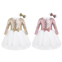 Flower Girls Tutu Dress Kids Baby Sequin Princess Party Wedding Birthday Gown