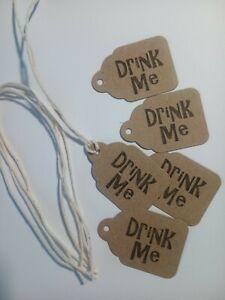 Drink me Eat Me Light Me Tag Handmade Birthday Christmas Wedding Favours