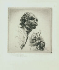 A fine original etching by John Taylor Arms, The Ugly Devil, pencil signed
