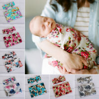 Newborn Baby Infant Cotton Swaddle Blanket+Headband Wrap Sleeping Bag Sleepsacks