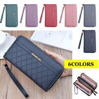 Women Leather Wallet Double Zipper Cellphone Wallet Long Purse with Wrist Strap