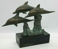 """Vintage Bronze 3 Dolphins Swimming Dolphin Statue 6.25x7""""    E3"""