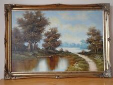 "c.20th - Vintage Oil on Canvas Painting  ""Landscape "" scene  -  Tony Drew"