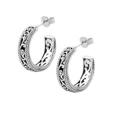 BALI STYLE  HOOP Earrings in SOLID 925 Sterling Silver  #N91