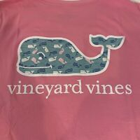 Vineyard Vines Womens Stripe Whale Fill S/S Pocket T-shirt Sz S Pink Cupcake-NEW