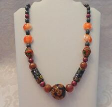 """Nice Ceramic Bead and Plastic Bead Necklace 26"""" Length"""