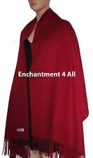 Large 100% 4-Ply Pure Cashmere Shawl Wrap, Burgundy