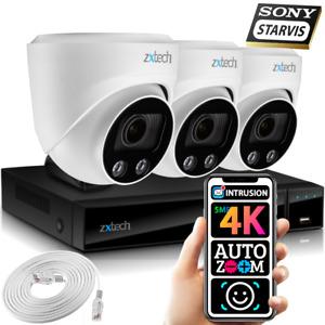 5MP & 8MP IP CCTV Kit 3x Face AI Sony Starvis Motorised Lens HD Security Cameras