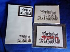 4 Kittens Line-up 4 Piece Set-Notepad, 6 Blank Notecards, Red Bow Print & Magnet