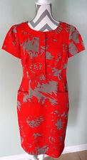 JONES NEW YORK Red Gray Short Sleeve Pocket Snap Button Sheath Dress Size 8 EUC