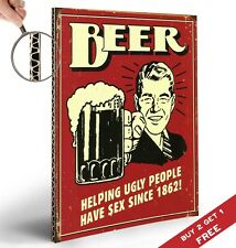 BEER HELPING UGLY PEOPLE Retro Vintage Sign A4 Poster * Funny Bar Pub Wall Decor
