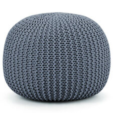 Living Room Hand Knitted Pouf Simple Floor Cushion Pure Cotton Braid Cord Grey