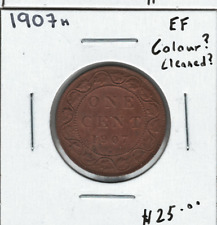 Canada 1907H 1 Cent Penny Large Cent Colour? Cleaned?
