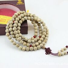 8mm Tibet Buddhism 108 white star & moon bodhi seed Prayer Bead Mala Necklace