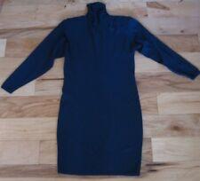 VINTAGE ST. JOHN KNIT FOR NEIMAN MARCUS NAVY BLUE TURTLENECK DRESS SIZE 6