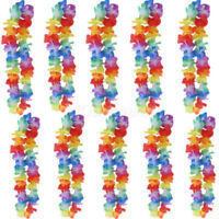 Lots 12pcs Hawaiian Lei Leis Flower Necklace Garland For Tropical Beach Party