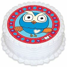 HOOT THE OWL 16cm Round Edible Image Cake Topper Decoration
