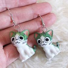 Cute Lovely Cool White Green Plastic Smiling Cat Chandelier Dangle Hook Earrings